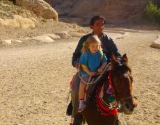 Petra on horse back